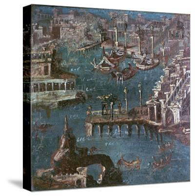 Roman wall-painting of a harbour scene. Artist: Unknown-Unknown-Stretched Canvas Print