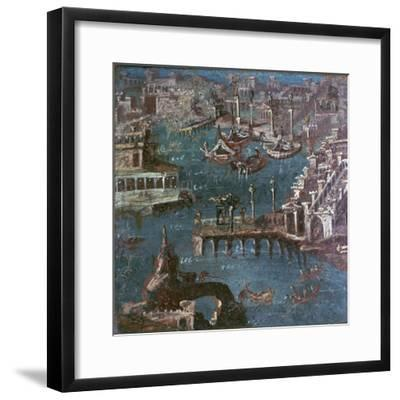 Roman wall-painting of a harbour scene. Artist: Unknown-Unknown-Framed Giclee Print