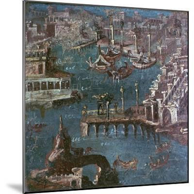 Roman wall-painting of a harbour scene. Artist: Unknown-Unknown-Mounted Giclee Print