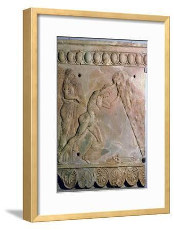 Roman terracotta Campana plaque showing Theseus lifting a huge rock. Artist: Unknown-Unknown-Framed Giclee Print
