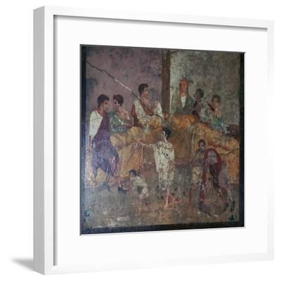Roman wall-painting of a dinner party. Artist: Unknown-Unknown-Framed Giclee Print
