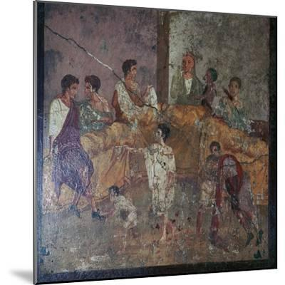 Roman wall-painting of a dinner party. Artist: Unknown-Unknown-Mounted Giclee Print