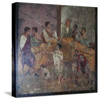 Roman wall-painting of a dinner party. Artist: Unknown-Unknown-Stretched Canvas Print