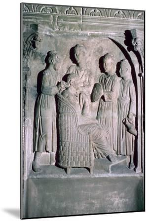 Roman relief of a woman's hair being dressed. Artist: Unknown-Unknown-Mounted Giclee Print