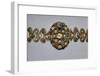 Gold Roman bracelet set with sapphires, emeralds, and pearls, 3rd century. Artist: Unknown-Unknown-Framed Giclee Print