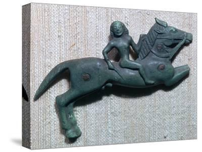 Archaic Greek bronze of a horse and rider, 6th century BC. Artist: Unknown-Unknown-Stretched Canvas Print