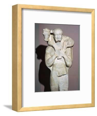 Greek sculpture known as the Moscophorus, 6th century BC. Artist: Unknown-Unknown-Framed Giclee Print