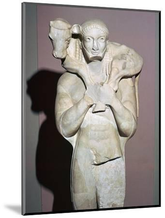 Greek sculpture known as the Moscophorus, 6th century BC. Artist: Unknown-Unknown-Mounted Giclee Print