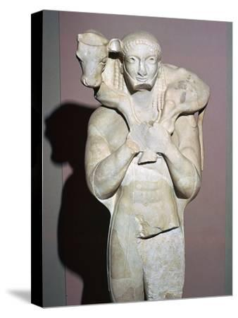 Greek sculpture known as the Moscophorus, 6th century BC. Artist: Unknown-Unknown-Stretched Canvas Print