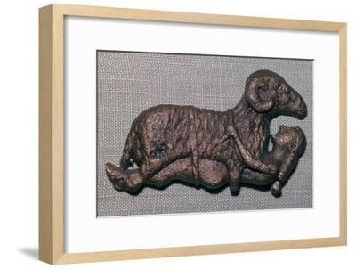 Archaic bronze of Odysseus and a ram. Artist: Unknown-Unknown-Framed Giclee Print