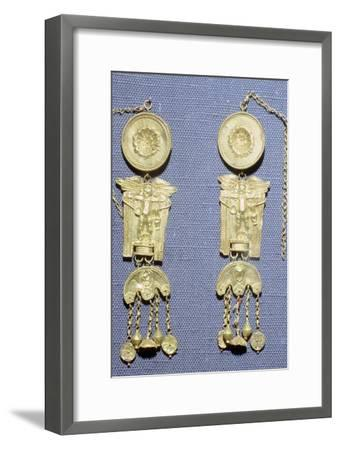 A pair of Roman gold earrings from Granada, Spain. Artist: Unknown-Unknown-Framed Giclee Print