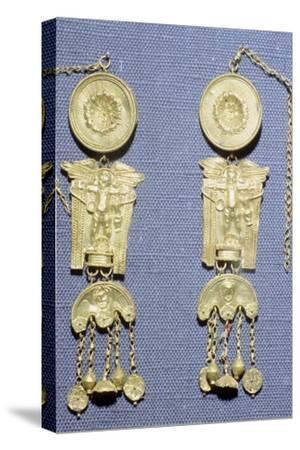 A pair of Roman gold earrings from Granada, Spain. Artist: Unknown-Unknown-Stretched Canvas Print