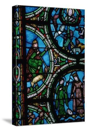 Detail of a stained glass window showing the story of Moses, 12th century. Artist: Unknown-Unknown-Stretched Canvas Print
