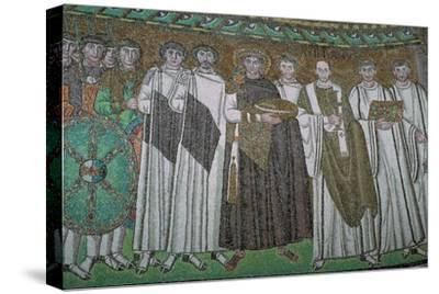 Mosaic of the Byzantine Emperor Justinian I and his court, 6th century. Artist: Unknown-Unknown-Stretched Canvas Print