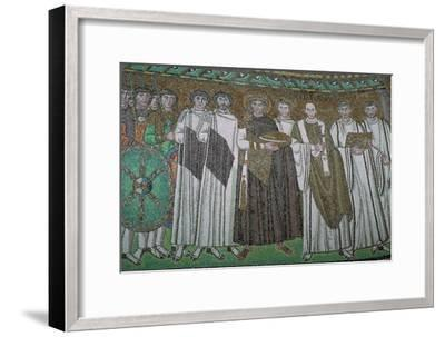 Mosaic of the Byzantine Emperor Justinian I and his court, 6th century. Artist: Unknown-Unknown-Framed Giclee Print
