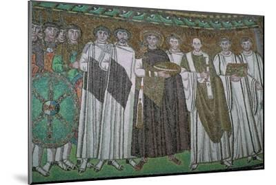 Mosaic of the Byzantine Emperor Justinian I and his court, 6th century. Artist: Unknown-Unknown-Mounted Giclee Print