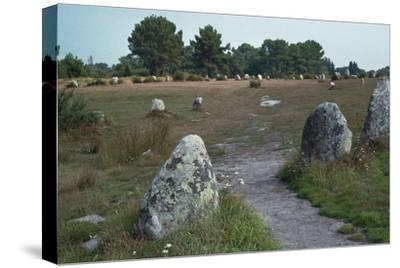 Megalithic alignments at Carnac, 34th century BC. Artist: Unknown-Unknown-Stretched Canvas Print
