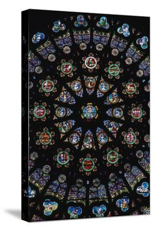Rose window in the south transeit of St Denis, 12th century. Artist: Unknown-Unknown-Stretched Canvas Print
