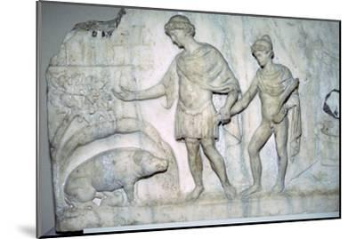 Roman marble relief of Aeneas and Ascanius. Artist: Unknown-Unknown-Mounted Giclee Print