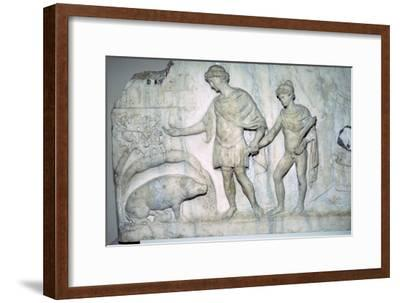 Roman marble relief of Aeneas and Ascanius. Artist: Unknown-Unknown-Framed Giclee Print