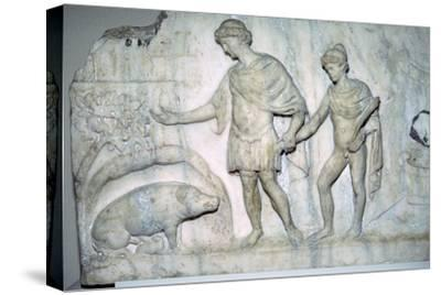 Roman marble relief of Aeneas and Ascanius. Artist: Unknown-Unknown-Stretched Canvas Print