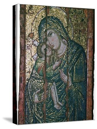 Byzantine mosaic of Virgin and Child, 14th century. Artist: Unknown-Unknown-Stretched Canvas Print