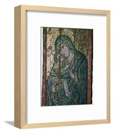 Byzantine mosaic of Virgin and Child, 14th century. Artist: Unknown-Unknown-Framed Giclee Print