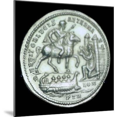Gold medallion of Constantius I, 3rd century. Artist: Unknown-Unknown-Mounted Giclee Print