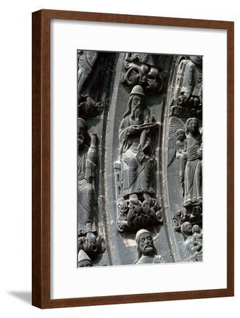 Musicians above the west door of St Denis, 12th century. Artist: Unknown-Unknown-Framed Giclee Print