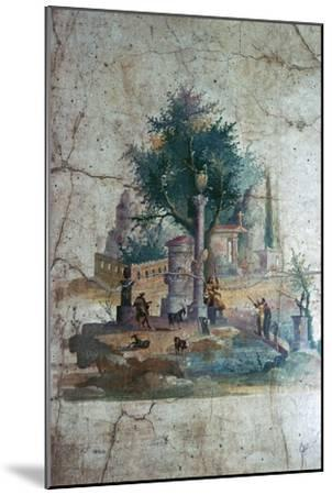 Roman wall-painting of a mythical landscape, c.1st century. Artist: Unknown-Unknown-Mounted Giclee Print