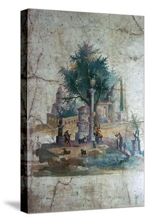 Roman wall-painting of a mythical landscape, c.1st century. Artist: Unknown-Unknown-Stretched Canvas Print
