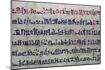 Hieratic Egyptian script from the Book of the Dead. Artist: Unknown-Unknown-Mounted Giclee Print
