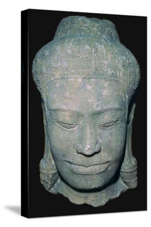 Stone sculptured head in Angkok style, 10th century. Artist: Unknown-Unknown-Stretched Canvas Print