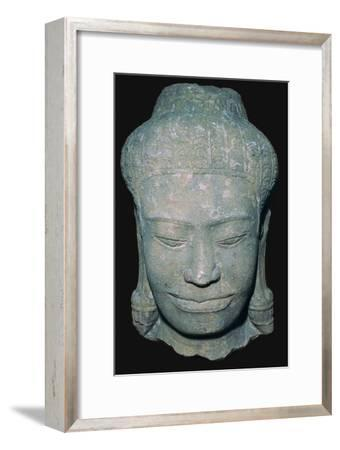 Stone sculptured head in Angkok style, 10th century. Artist: Unknown-Unknown-Framed Giclee Print