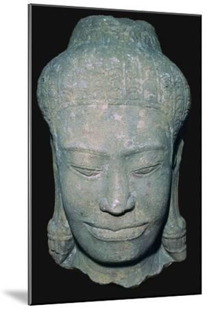 Stone sculptured head in Angkok style, 10th century. Artist: Unknown-Unknown-Mounted Giclee Print