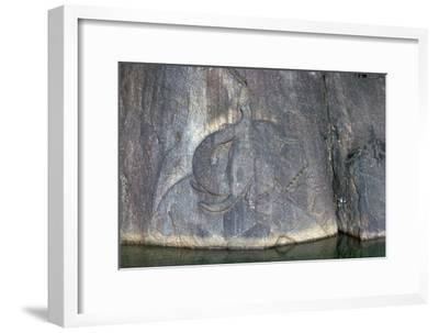 Bathing elephant carved in low relief in a Buddhist shrine. Artist: Unknown-Unknown-Framed Giclee Print
