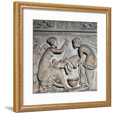 Roman depiction of bathing a baby. Artist: Unknown-Unknown-Framed Giclee Print