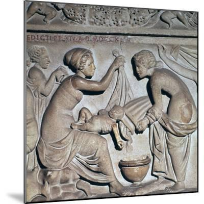 Roman depiction of bathing a baby. Artist: Unknown-Unknown-Mounted Giclee Print