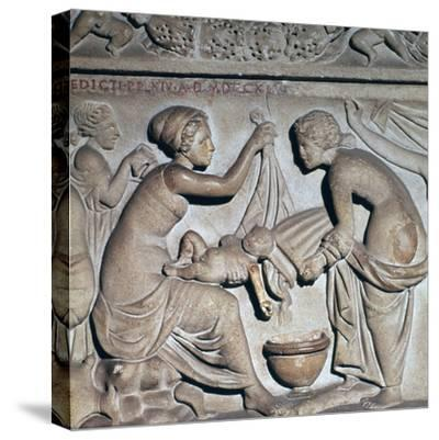 Roman depiction of bathing a baby. Artist: Unknown-Unknown-Stretched Canvas Print