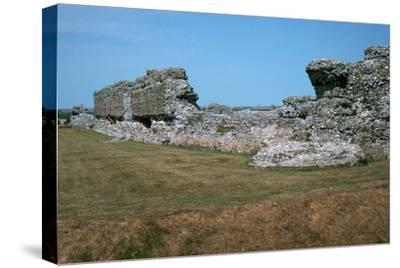 Walls of the Roman port of Richborough, 1st century. Artist: Unknown-Unknown-Stretched Canvas Print