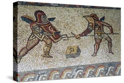 Roman floor mosaic of gladiators, c.3rd century. Artist: Unknown-Unknown-Stretched Canvas Print