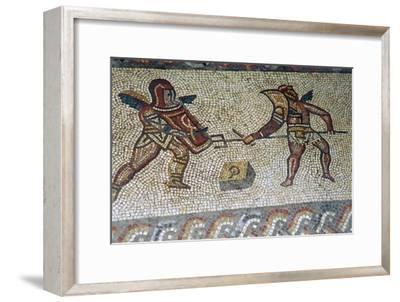 Roman floor mosaic of gladiators, c.3rd century. Artist: Unknown-Unknown-Framed Giclee Print