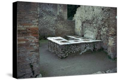 Roman food-shop in Herculaneum, 1st century. Artist: Unknown-Unknown-Stretched Canvas Print