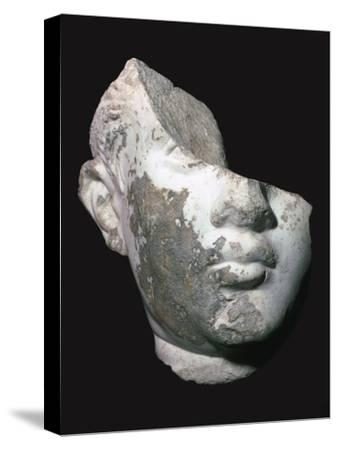 Fragment of a marble head of a youth, 1st century. Artist: Unknown-Unknown-Stretched Canvas Print