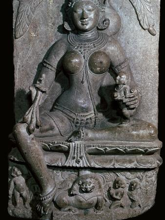 Depiction of the Jain mother-goddess Ambika, 11th century. Artist: Unknown-Unknown-Framed Giclee Print