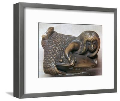 Japanese Netsuke of a mermaid on a clam, 18th century. Artist: Unknown-Unknown-Framed Giclee Print