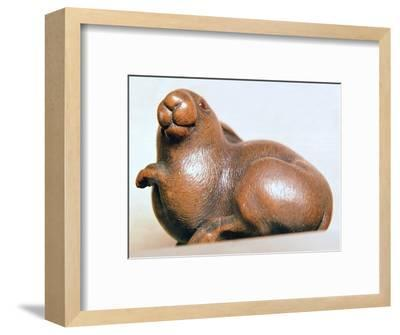 Japanese Netsuke of a hare. Artist: Unknown-Unknown-Framed Giclee Print