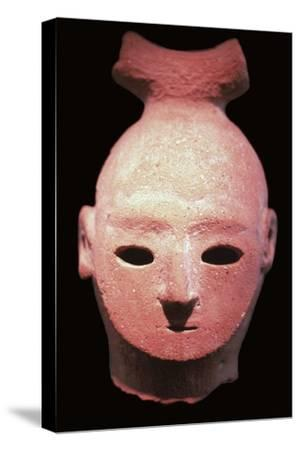 Head of a Haniwa tomb figure, 6th century. Artist: Unknown-Unknown-Stretched Canvas Print