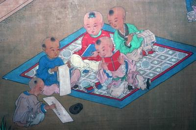 Japanese painting of children at play, 18th century. Artist: Unknown-Unknown-Framed Giclee Print
