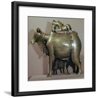 Cast bronze zebu-cow suckling her calf while a lion attacks her back, 13th century. Artist: Unknown-Unknown-Framed Giclee Print